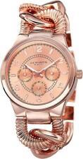 Akribos XXIV AK721RG GMT Day Date Twist Chain Bracelet Rosetone Womens Watch