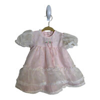 Vintage ALEXIS Dress Baby Toddler 9 MOS 17-20 LBS Chiffon Lace Pink Metallic