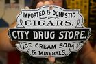 City Drug Store Cigars Ice Cream Soda Pop Tobacco Gas Oil Porcelain Metal Sign