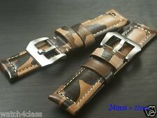 24mm Genuine leather strap band bracelet Military camouflage (fits) Panerai