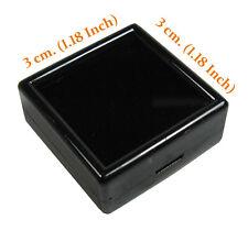 20 PCS OF GLASS TOP BLACK PLASTIC DIAMOND GEM NEW JEWELRY DISPLAY JAR BOX 3x3 CM