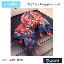 Navy & Red, Paisley with Polka Dot, Cotton scarf Large Shawl, Wrap with Fringe