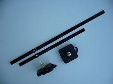 HIGH TORQUE CLOCK MOVEMENT  LONG SPINDLE 300MM BLACK BATON METAL HANDS