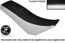 BLACK & WHITE AUTOMOTIVE VINYL CUSTOM FITS DERBI SENDA BAJA 125 DUAL SEAT COVER