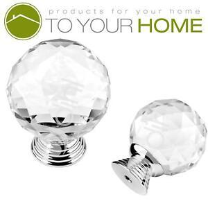 Dihl Globe Crystal Door Knobs Diamond Glass Clear Cabinet Drawer Wardrobe Handle