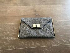 DIANE VON FURSTENBERG BLACK AND WHITE CLOTH ZIP ACCENT TURN CLOSURE CLUTCH