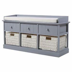 Shoe Bench Hallway Shoes Rack Storage Cabinet Cushion Seat Wicker Basket/Drawer
