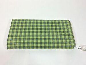 Vintage 1950's 50s 100% cotton weave fabric DEADSTOCK green palette plaid check