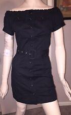 Venus Brand Black Button Down Belted Shirt Dress Optional Off Shoulder Size 2