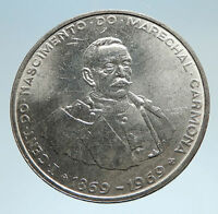 1969 PORTUGAL w President Oscar Carmona Genuine Silver 50 Escudos Coin i75068