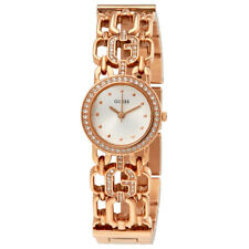 Guess White Dial Ladies Rose Gold Tone Chain Watch W0576L3