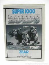 Zoids Zoid Vintage OER Instruction Sheet Fiche ZEAR SUPER 1000 Original