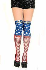 DC Comics Wonder Woman 1 Pair Thigh Hi Socks Faux Lace Stars Bioworld Stockings
