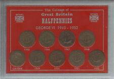 More details for 1945-1952 king george vi halfpennies halfpenny coin old coinage gift type set