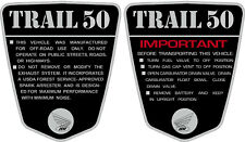 "CT70 KO CT-70H  Trail 50  frame decals, graphics,   Cutsom:  ""TRAIL 50"""
