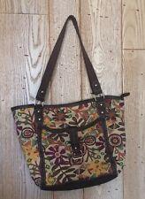 Vintage 70's style bag purse flowers owls brown yellow orange green purple hip