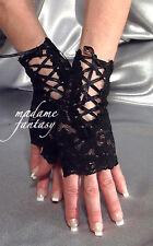 Sexy Nuevo lazada tie Fingerless Gloves-Negro