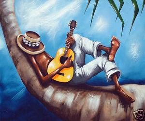 "Fiji art painting print beach palm tree guitar relax 24"" x 20"" canvas By A Baker"