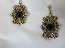 "PIERCED CHANDALIER EARRINGS BY DESIGNER,  ""JJ"" JONETTE MULTI-TONE GOLD, RHINESTE"
