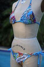 Women's Ed Hardy Christian Audigier Blue Bikini Swimwear Swimsuit Cross Angel M