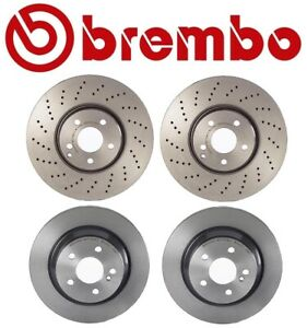 For Mercedes-Benz W211 E350 E500 Front Rear Coated Disc Brake Rotors Kit Brembo