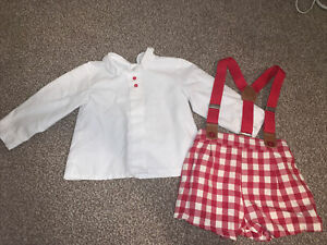 Baby Boy Spanish Shirt, Bloomer Shorts And Braces Outfit Set 18m 12-18 Months