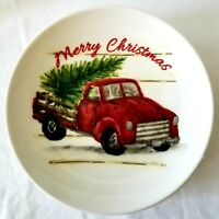 NEW Maxcera Farmhouse Red Truck Tree Holiday Merry Christmas Dessert Plates SET