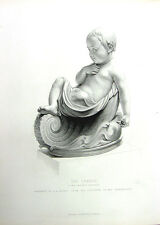 NAKED BABY BOY TODDLER CHILD IN CRADLE ~ Old 1860 Sculpture Art Print Engraving