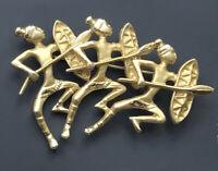 vintage African Dancers  brooch pin gold tone metal