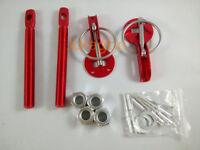 Hood Pin Latch Locking Kit Red Color Universal Aluminum Alloy Mount Bonnet
