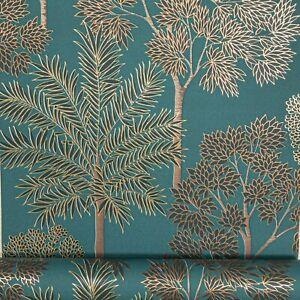 Teal Green Metallic Gold Trees Foliage Slight Imperfect Textured Vinyl Wallpaper