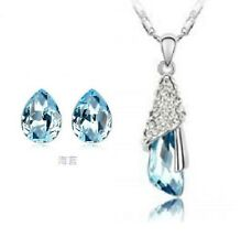TURQUOISE  AUSTRIAN CRYSTAL 2 PIECE SET KP39  white gold plated