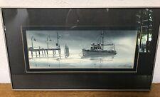 """Dan A Deegan Signed Dated Original Watercolor Framed 20x10.5"""" Seattle Blue Ocean"""