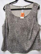 KSL shirt top blouse 1X 20 Bust 52 Brown Modern Print New NWT $59