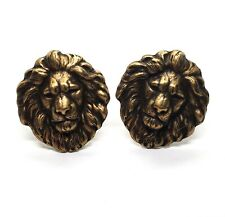 Handmade Oxidized Brass Lion Cuff Links