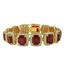 Cz Bustdown Prong Set Gold Plated Artificial Ruby Iced Out Hip Hop Bracelet