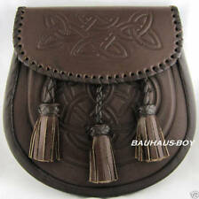Sporran Kilt in rilievo marrone pelle celtico knotwork Design 3 Nappe per kilt