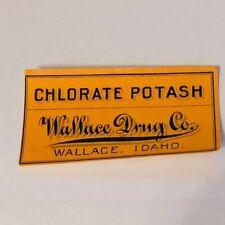 Pharmacy label ephemera WW1 drugstore WWI Wallace Idaho ID chlorate potash drug