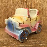 Vintage Shawnee USA Pottery Antique Car Planter # 506 Pink Blue Yellow Gold MCM