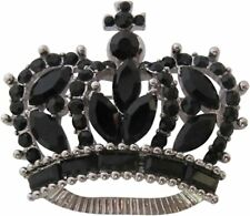 Silver Plated Black Crystal Traditional Crown Brooch Princess Crown Lapel Pin