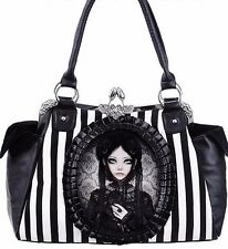 "HANDBAG ""GREY DOLL"" gothic lolita, black and white stripes"