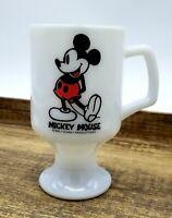 Vintage Mickey Mouse Coffee Mug Milk Glass Pedestal Cup Walt Disney