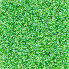 Toho Size 11/0 Inside Colour Luster Crystal/Spearmint Lined Seed Beads (L33/2)
