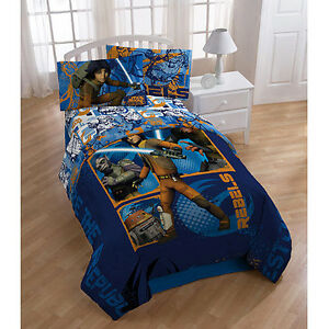 5pc STAR WARS *FULL COMFORTER SHEETS Bed SET Double Luke Jedi Disney Blue Boys