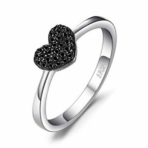 JewelryPalace Forever Love Heart Promise Ring for her, Anniversary White Gold