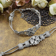 HOT Free shipping New  silver multicolor jade bead bracelet S95D