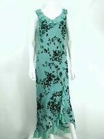 Monsoon Silk Blend Green Dress UK 14 Velvet Brocade Floral Frill Hem Evening V