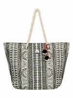 ROXY WOMENS BAG.NEW SUN SEEKER STRAW TOTE BEACH POMPOM HOLDALL 7S/50/WBT7
