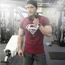 Men's Fashion Superman Gym Bodybuilding Casual Training Muscle Sport T-shirt Tee