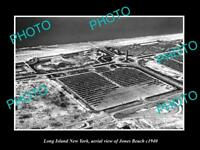 OLD LARGE HISTORIC PHOTO OF LONG ISLAND NEW YORK AERIAL VIEW OF JONES BEACH 1940